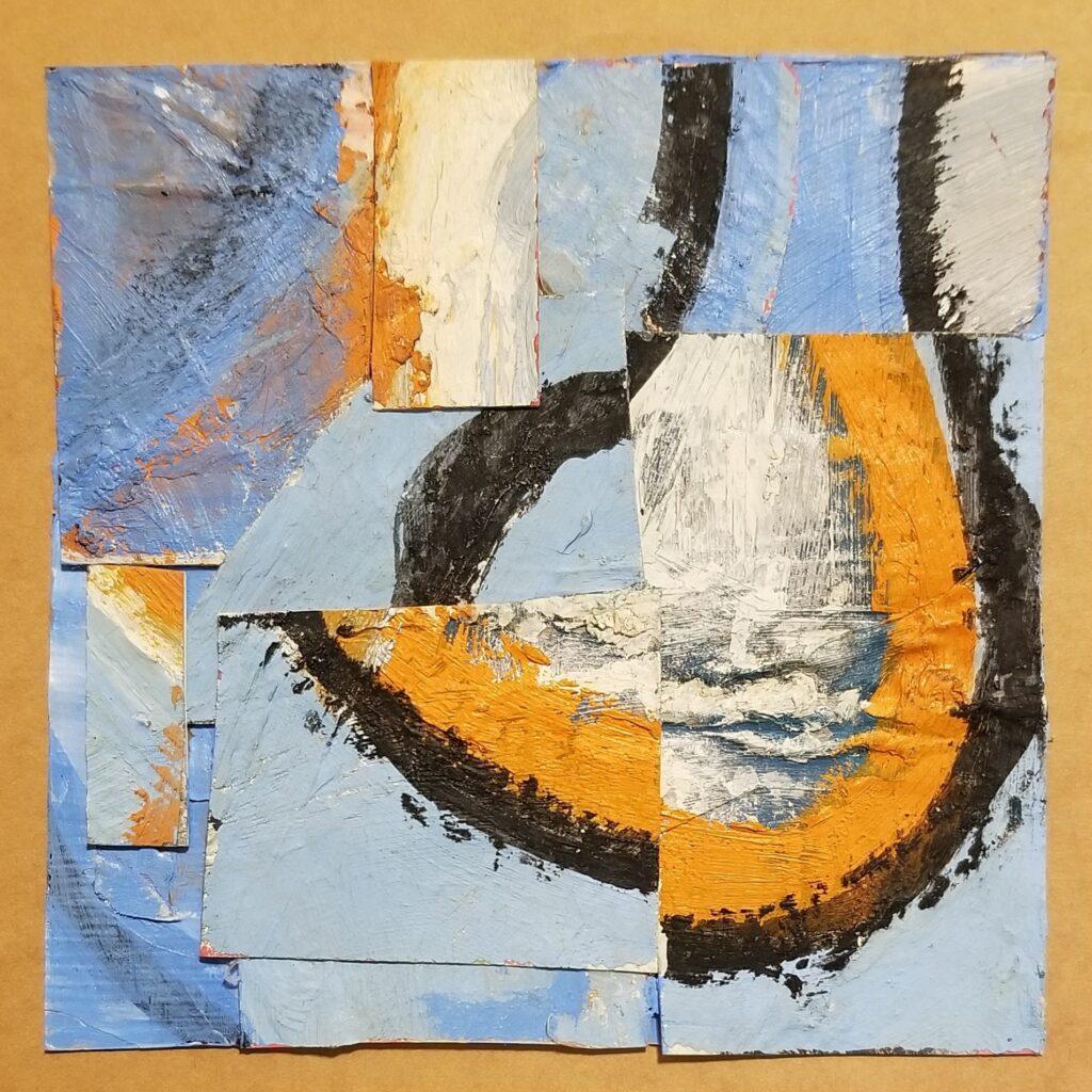 Jane Helslander;  work on paper; Kind of Blue 2; collage